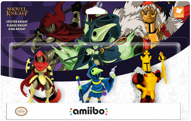 Plague Knight, Specter Knight, and King Knight amiibos