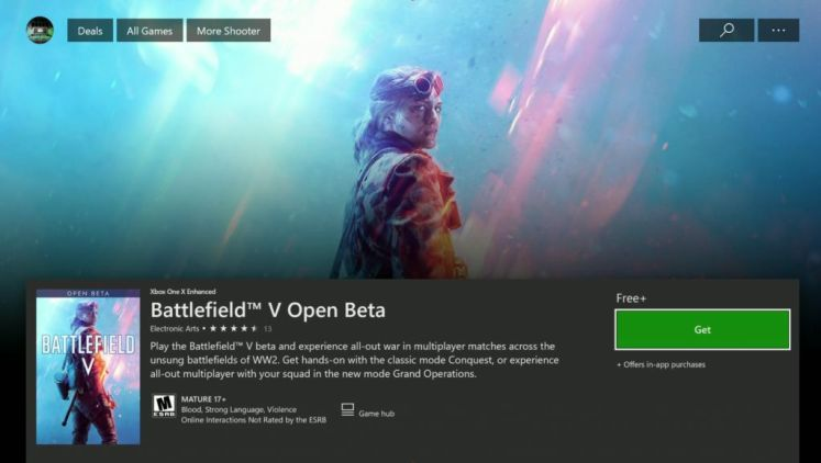 Battlefield V open beta - Xbox One