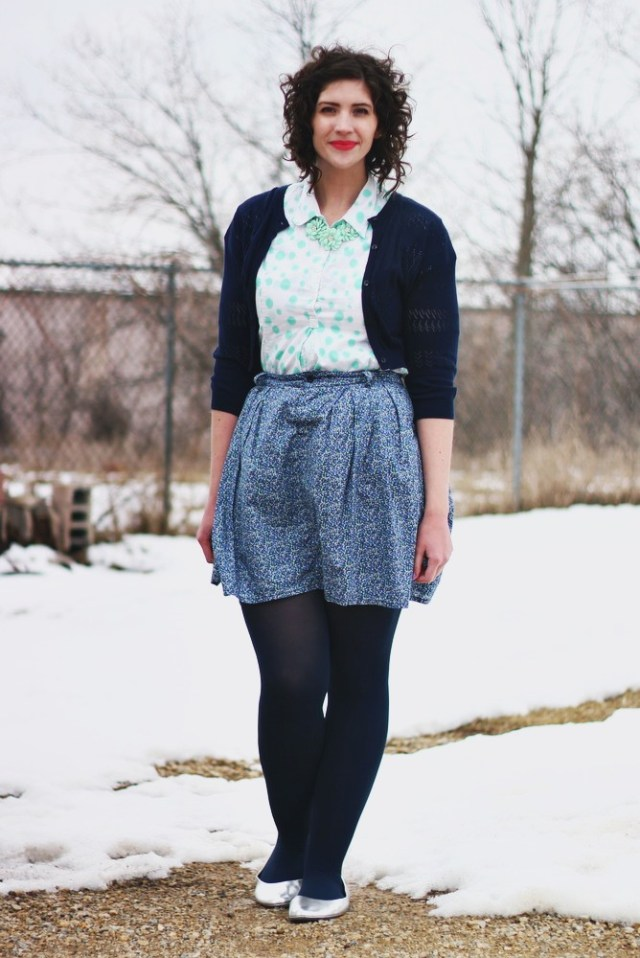 hannah rupp the outfit repeater blue winter outfit thrifted pattern mixing
