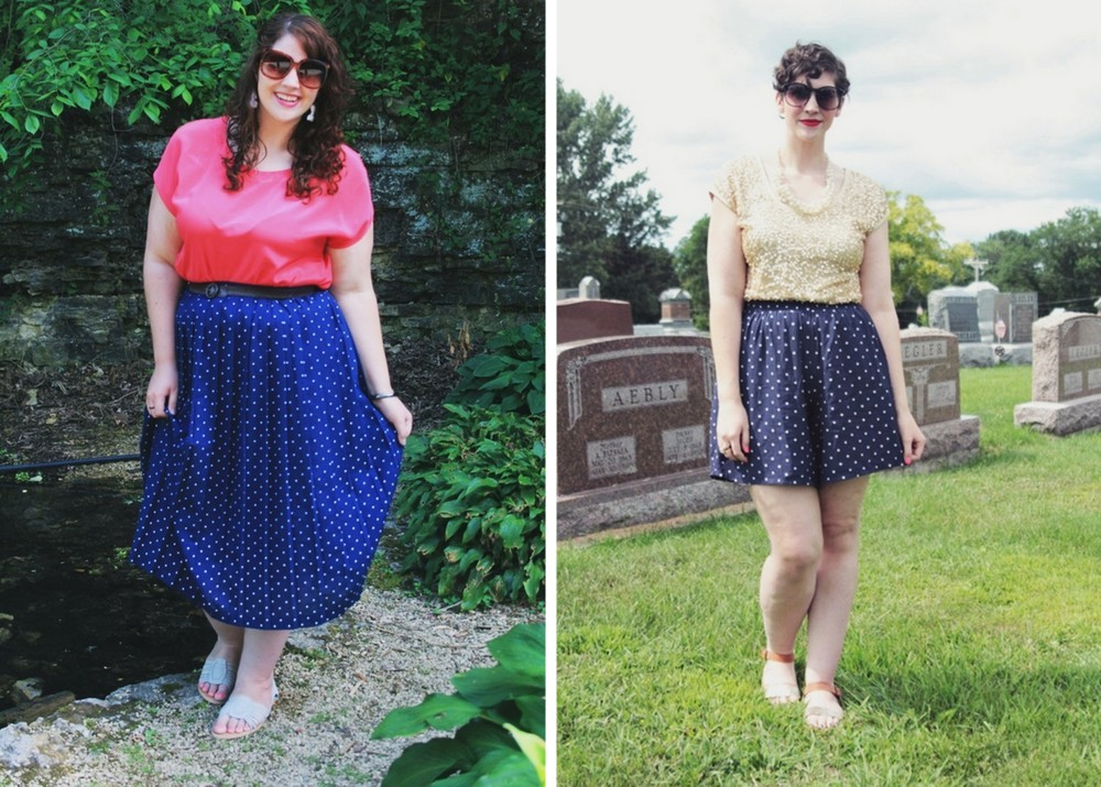 summer outfit ideas blue polka dot and shorts with colorful blouse