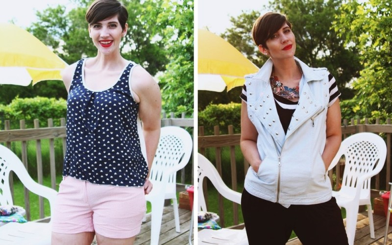 hannah rupp poses in two secondhand summer outfits for a june thrift haul video 2015