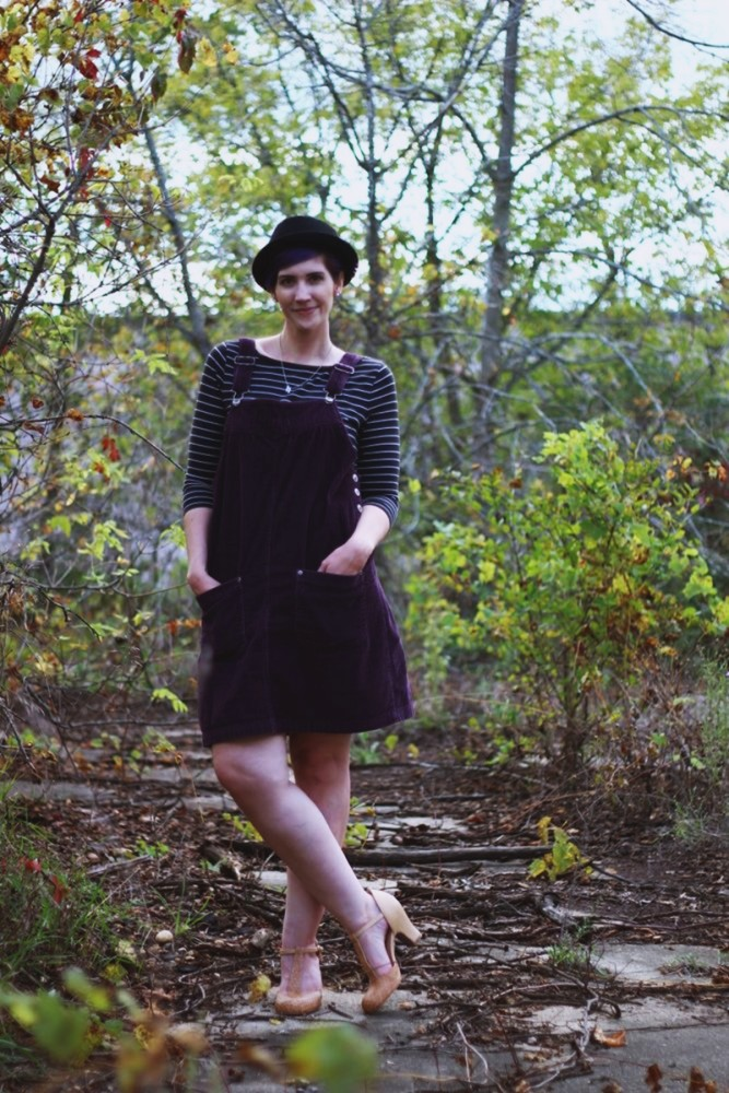 Outfit: Black & white breton striped top, purple corduroy dress, nude t-strap heels, black pork pie hat, reflective sunglasses