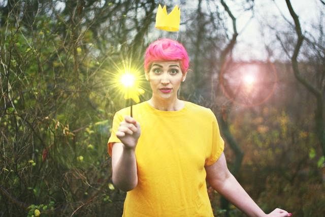 Making magic in a Fairly OddParents Wanda Halloween costume