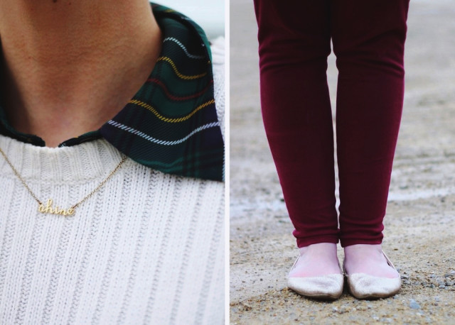 Christmas outfit inspired by 1990 Home Alone movie: green plaid button down, oversized white sweater, burgundy jeggings, gold glitter flats, bright pink hair, wine colored lips, camel colored coat