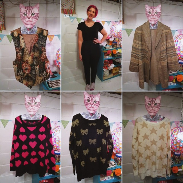 November Monthly Thrift Haul clothes: Seventeen for Sears sweaters, cat printed vest, vintage patterned cardigan, plaid high waisted stirrup pants