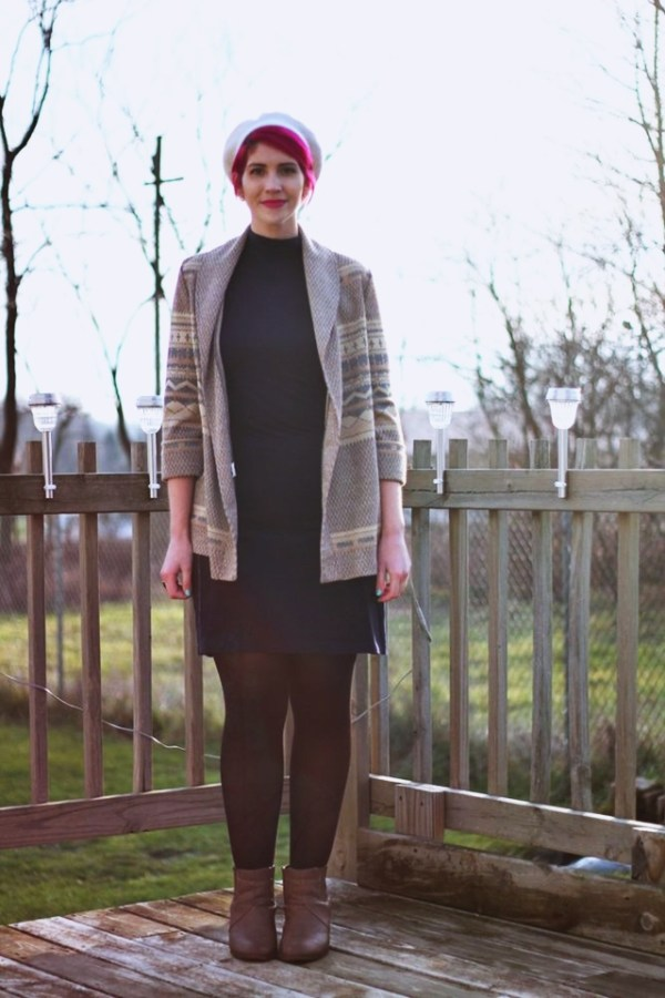 outfit: black high neck early 2000's dress, black tights, camel tan heeled booties, vintage patterned cardigan, bright magenta short hair, white vintage beret thrifted