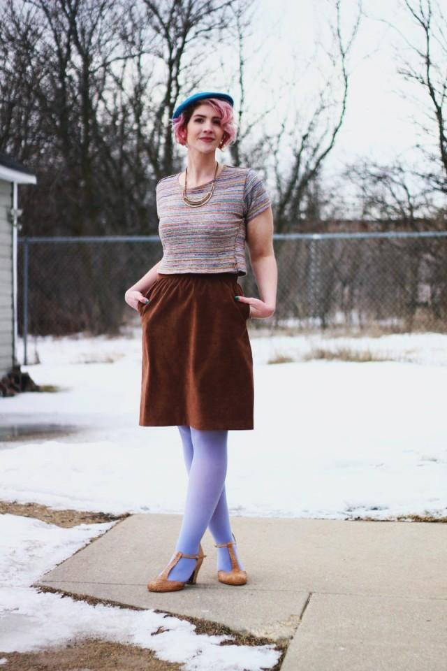Outfit: Blue striped crop top, light brown suede skirt, Forever 21 leopard print jacket, teal beret, gold necklace, lavender tights, beige t-strap heels