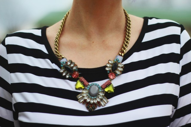 Striped top and statement necklace from Walmart