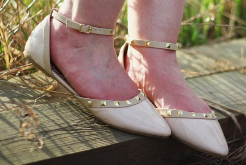Payless nude pointy toe flats with gold pyramid studs