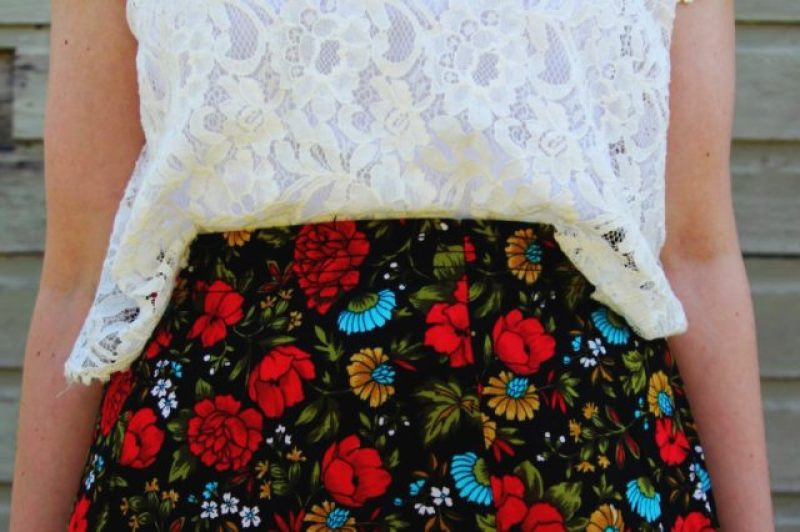 Spring style outfit: Target white lace crop top, vintage thrifted red floral skirt pattern mixing