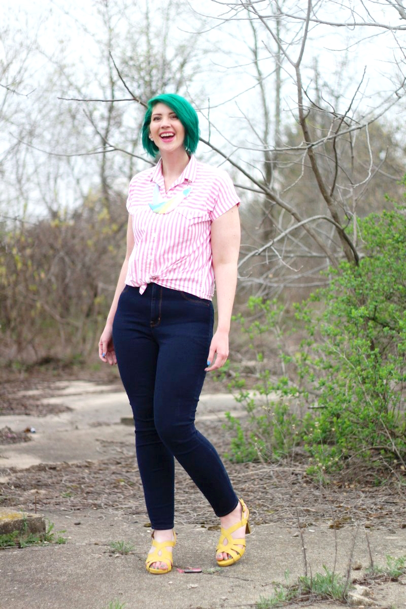Outfit: pink striped button up, dark wash high waisted jeans, yellow high heels, a statement necklace in the shape of a parrot