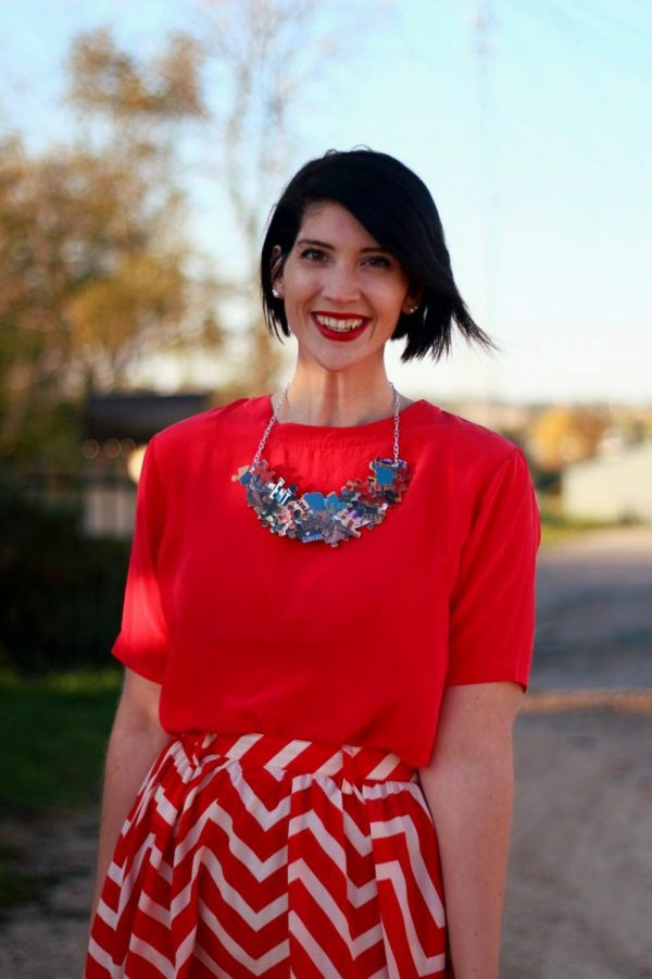 Outfit: Vintage red top, DIY puzzle piece necklace, red lipstick, thrifted orange chevron skirt
