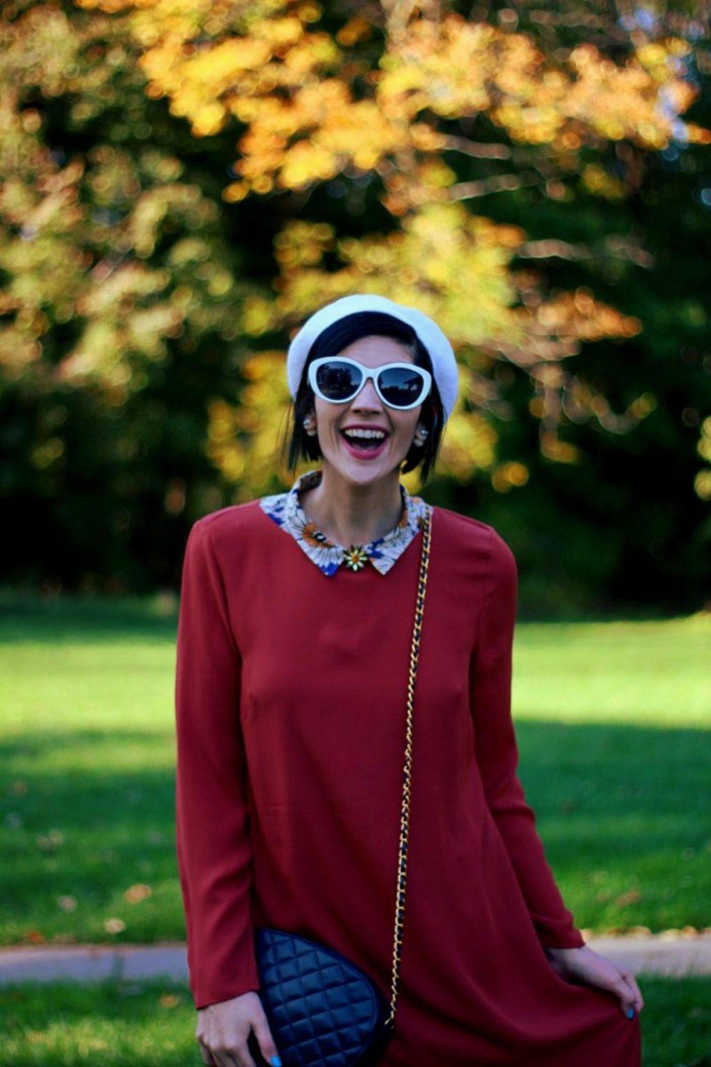 Outfit: Orange retro style dress, flower collar, jewel flower brooch, cream colored beret, navy purse