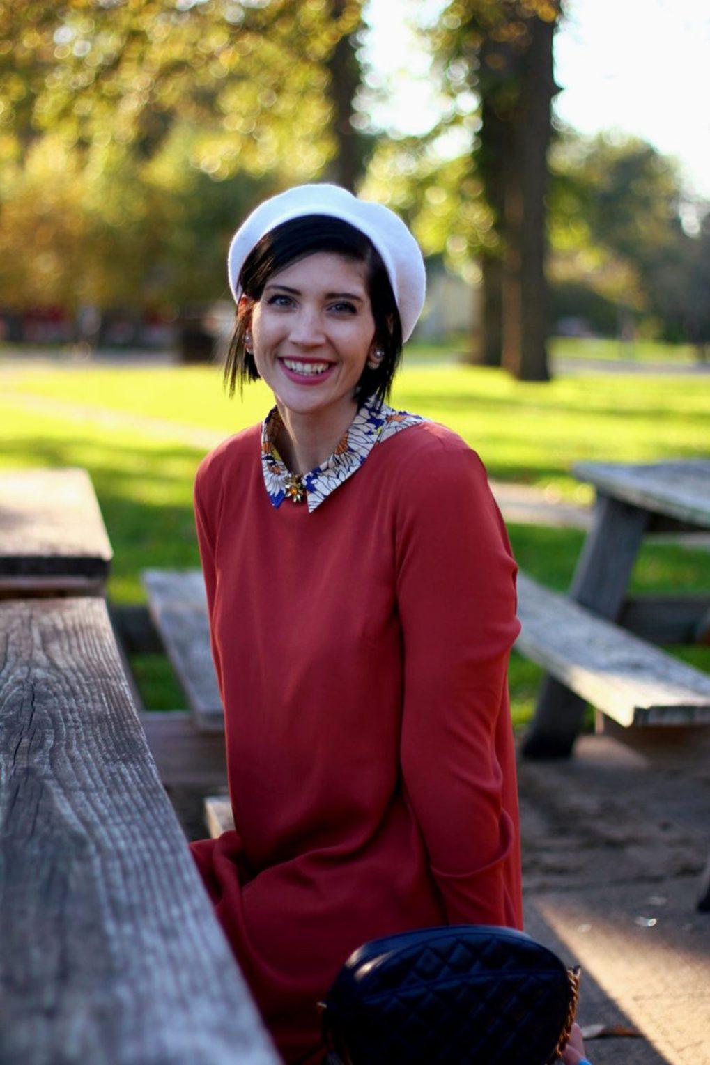 Outfit: Orange retro style dress, flower collar, jewel flower brooch, cream colored beret