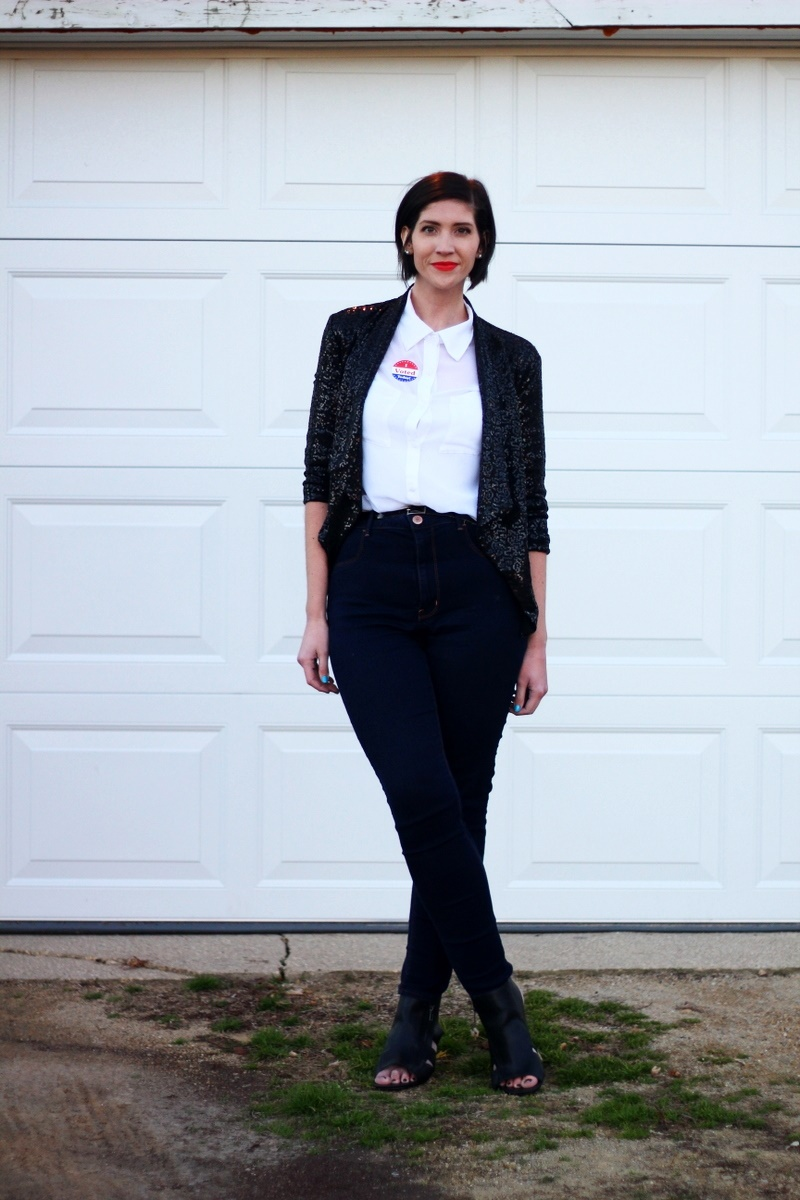 Election day outfit: white button up, red lipstick, I Voted sticker, black sequined blazer, high waisted jeans, black cutout heels