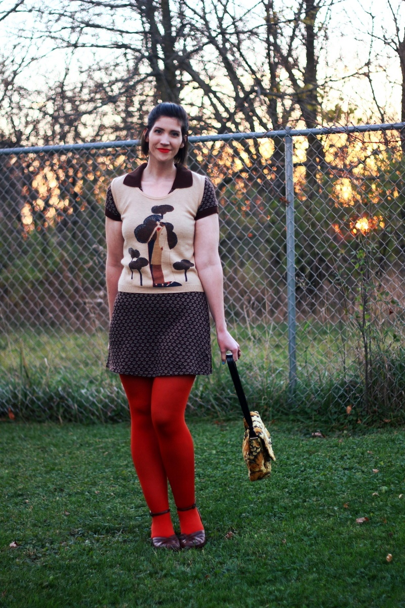 Outfit: Brown mini dress, vintage vest, orange lipstick, orange tights, ugly yellow purse, brown chunky heels