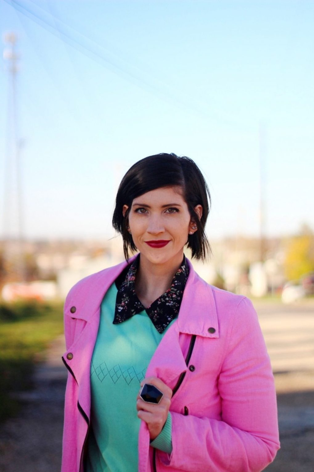Outfit: Floral collar top, mint green sweater, bright pink jacket, dark lipstick
