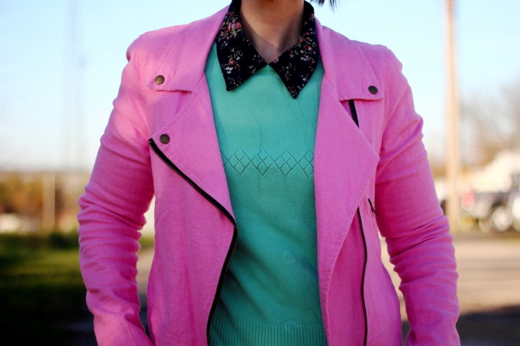 Outfit: Floral collar top, mint green sweater, bright pink jacket