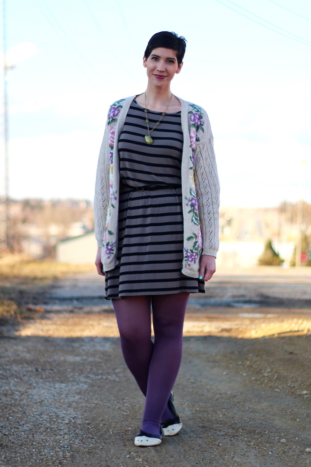 Embroidered grandma cardigan, striped dress, purple lipstick, We Love Colors Mocha tights, brown cream ballet flats