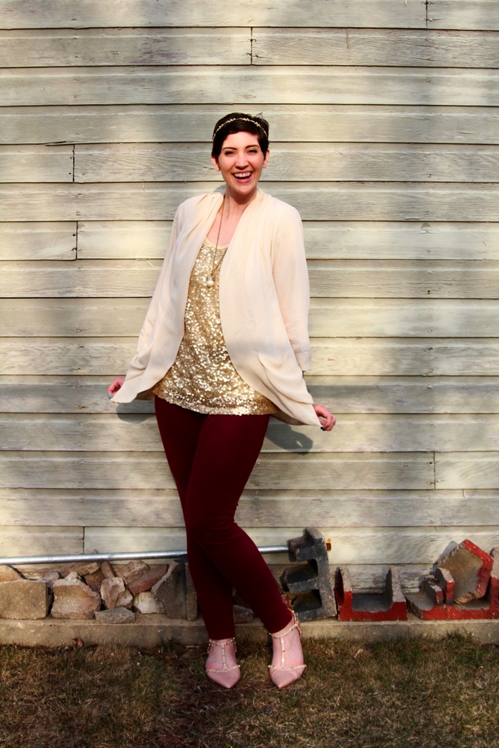 Gold sequin t-shirt, cream color cover-up, crown necklace, gold leaf headband, thrifted maroon jeggings, ThredUp nude flats