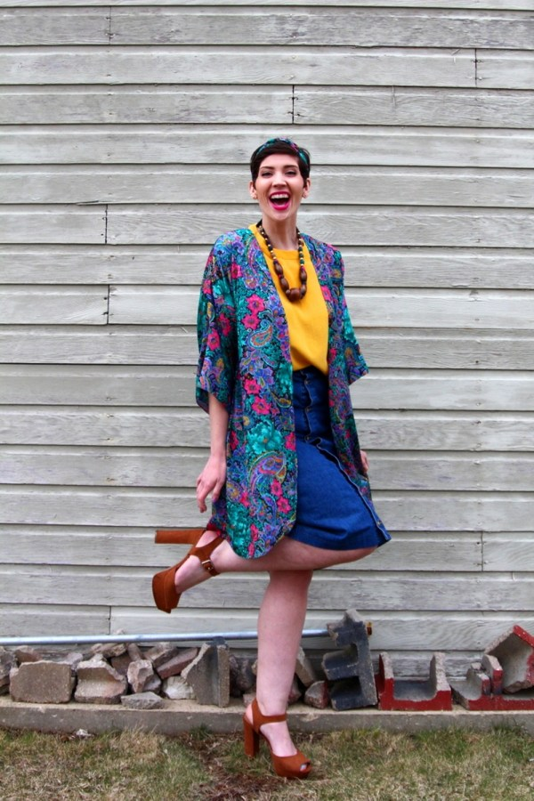 Outfit yellow top, vintage thrifted kimono robe lingerie, denim skirt buttonup, wooden bead necklace, cognac platform shoes ThredUp, YSL fuchsia lipstick