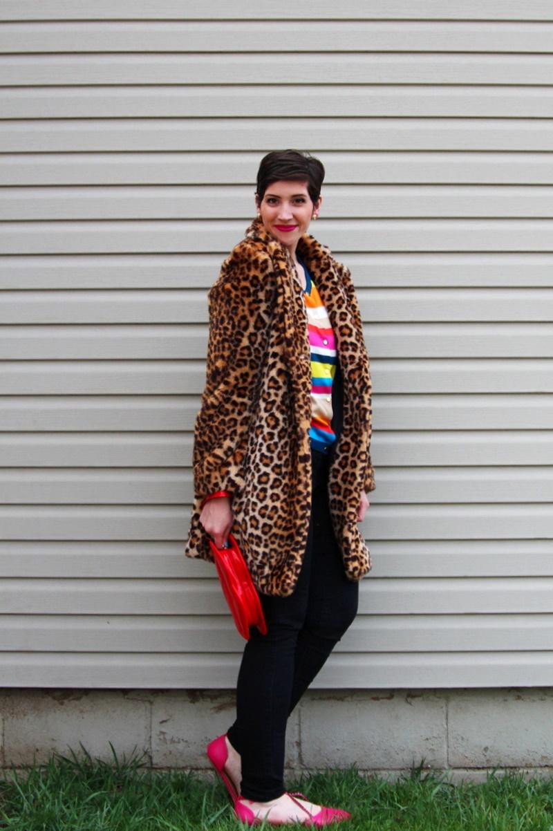 Striped rainbow sweater, leopard print coat, black jeggings, pink flats, Colourpop Heart On lipstick, red lip clutch purse, icecream cone earrings