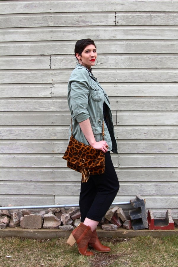 vintage black jumpsuit fashion jungle red lipstick leopard print purse neckerchief scarf olive green jacket thrifted brown booties