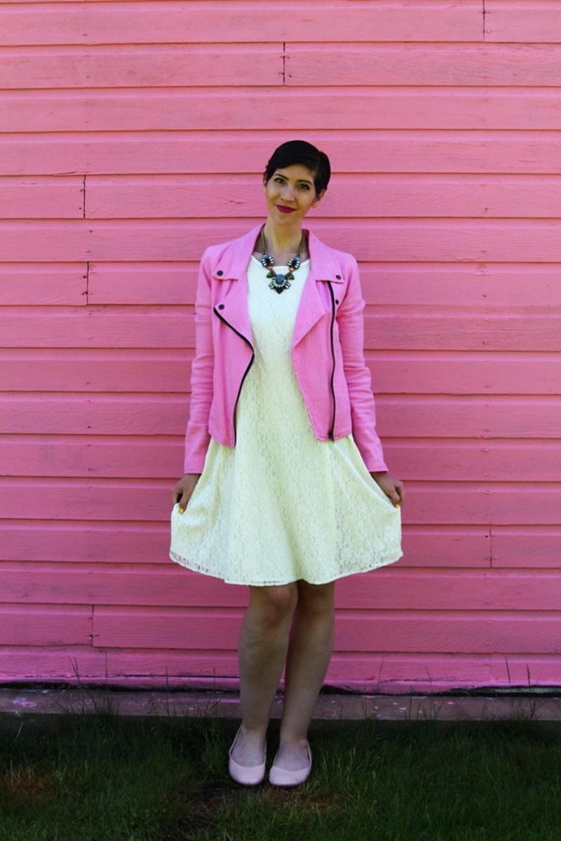 outfit thrifted white lace dress bridal, thredup pink moto jacket, poshmark nude flats, walmart statement necklace, ysl fuschia lipstick