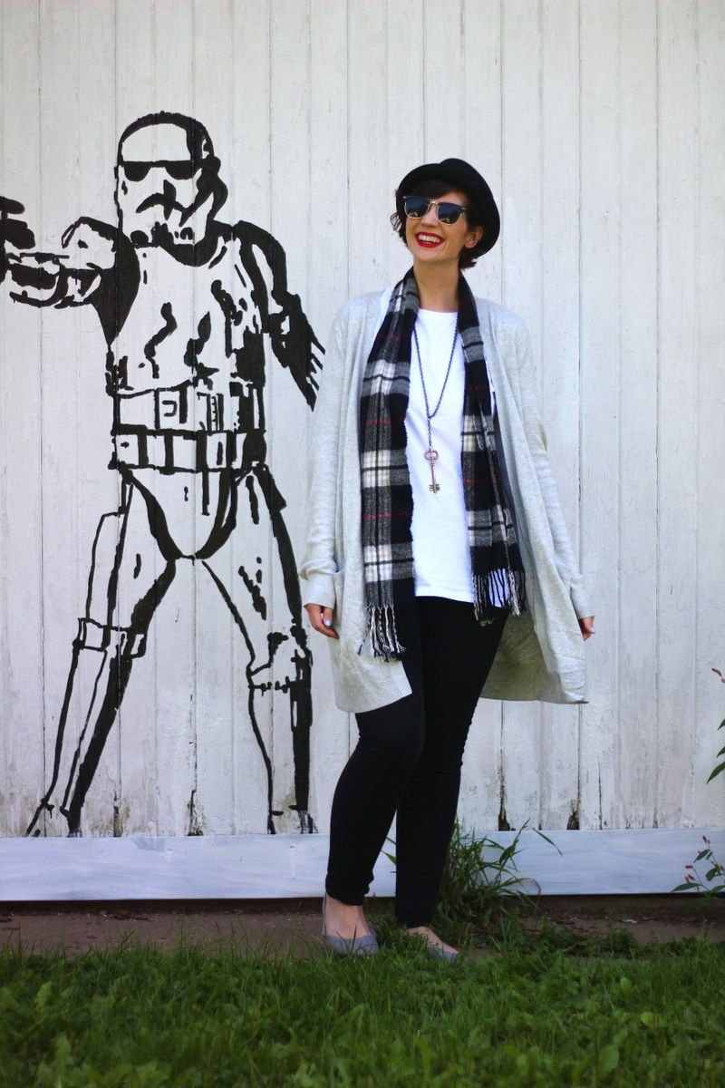 star wars outfit long tall sally review Plain white tee, longline cardigan, black jeggings, pork pie hat, MAC Ruby Woo lipstick, gray ballet flats