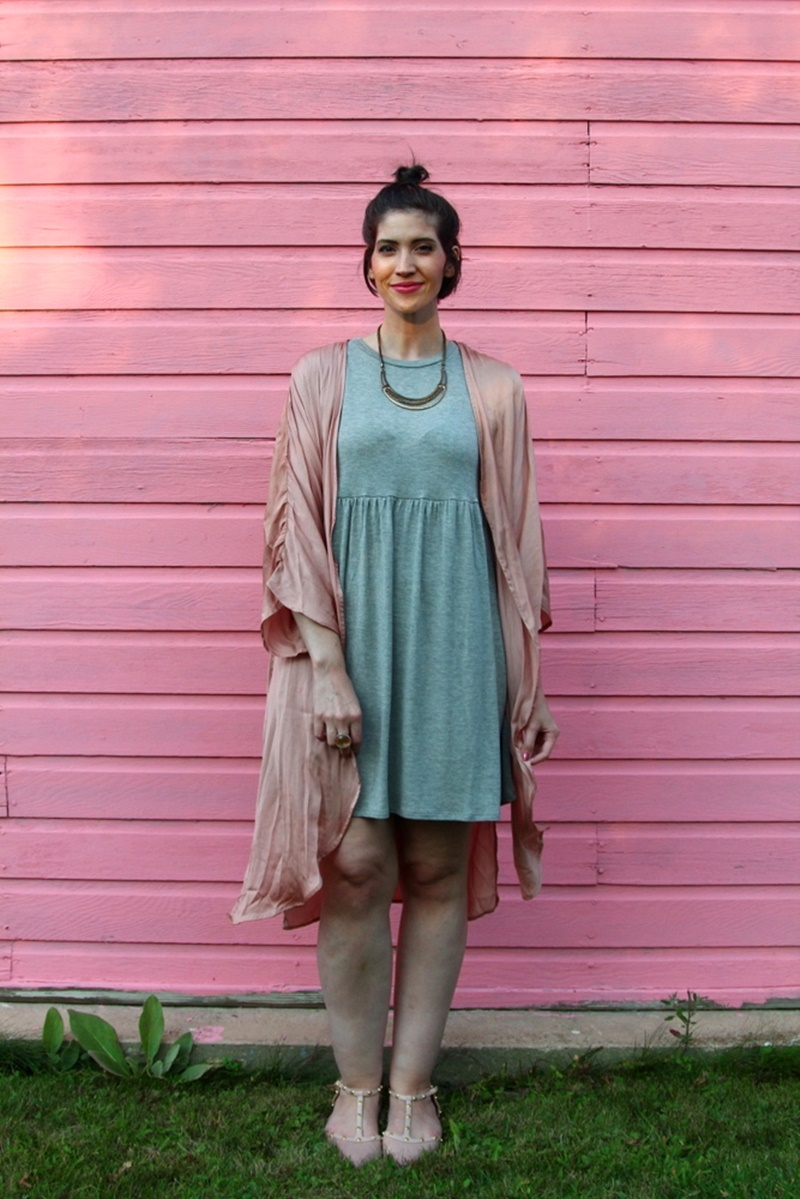 Tobi gray baby doll dress, embroidered pink kimono, nude studded flats secondhand clothes thredUP, Wet n Wild mauve lipstick, short hair pun, gold and silver jewelry, cocktail ring