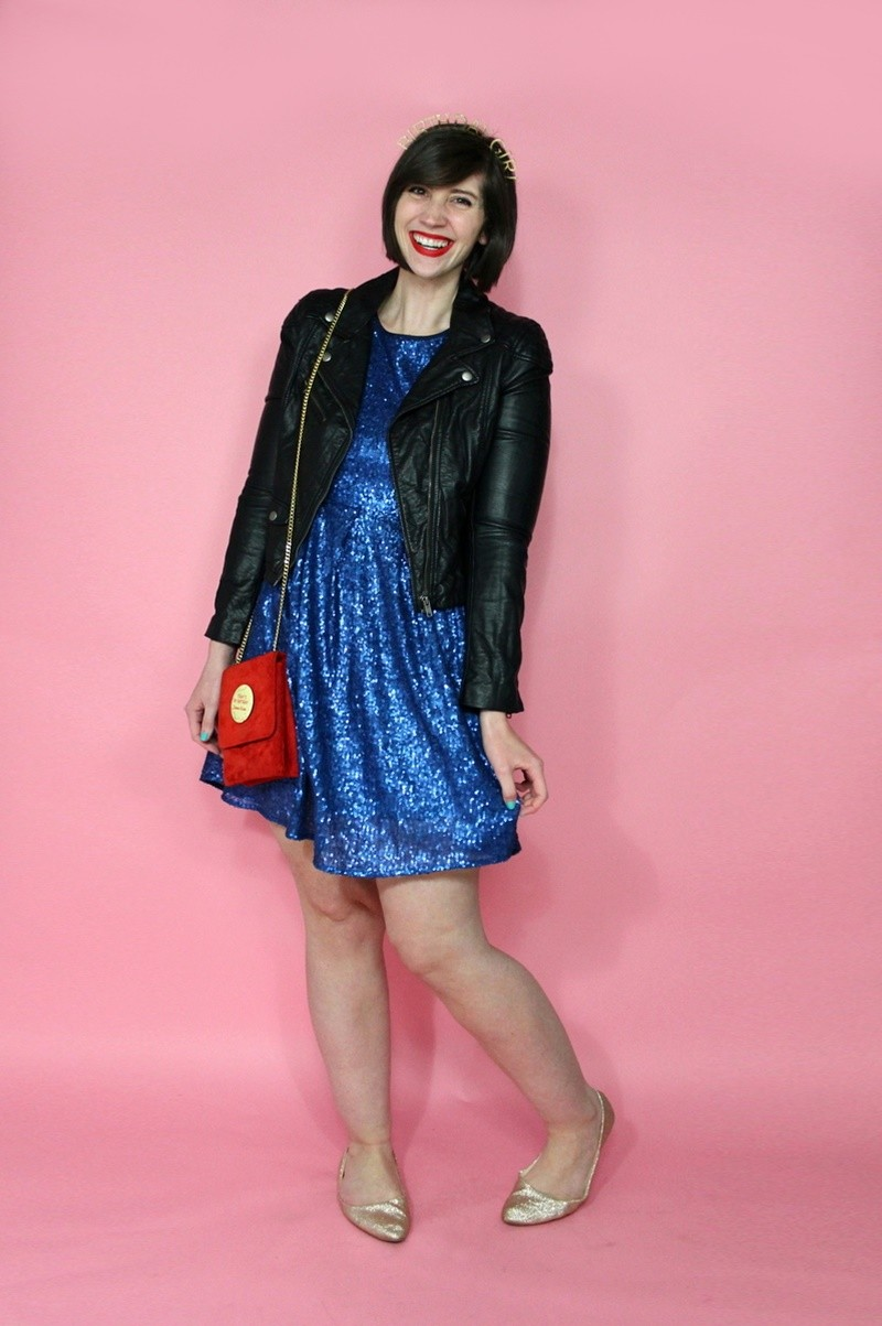 hannah rupp the outfit repeater birthday outfit thrifted sequin dress moto jacket crown