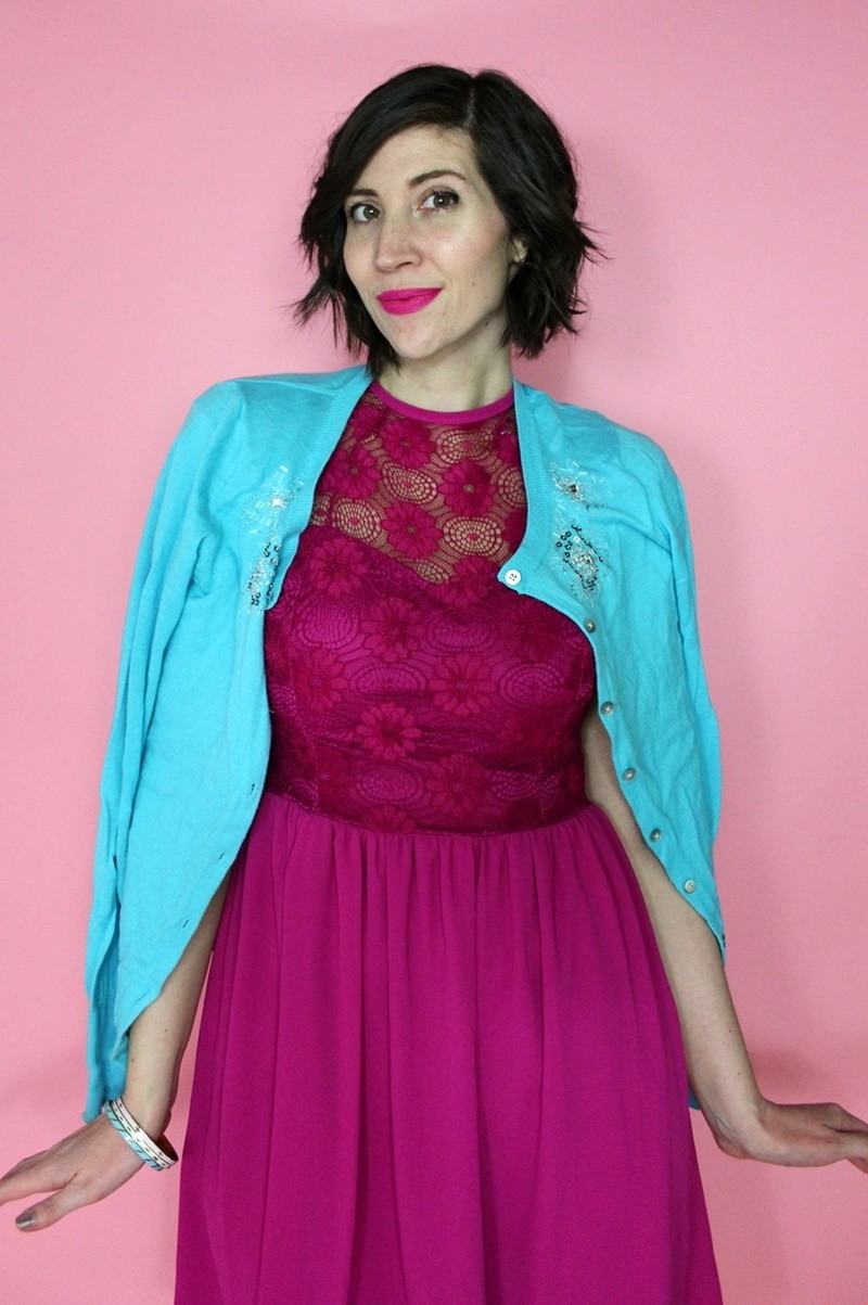 hannah rupp the outfit repeater easter dress outfit poshmark colourpop lipstick cardigan vintage