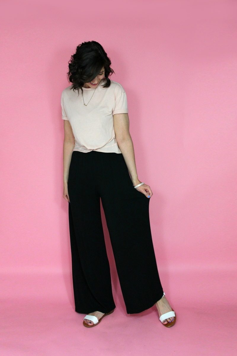 modest summer outfit idea hannah rupp the outfit repeater palazzo pants thrifted style