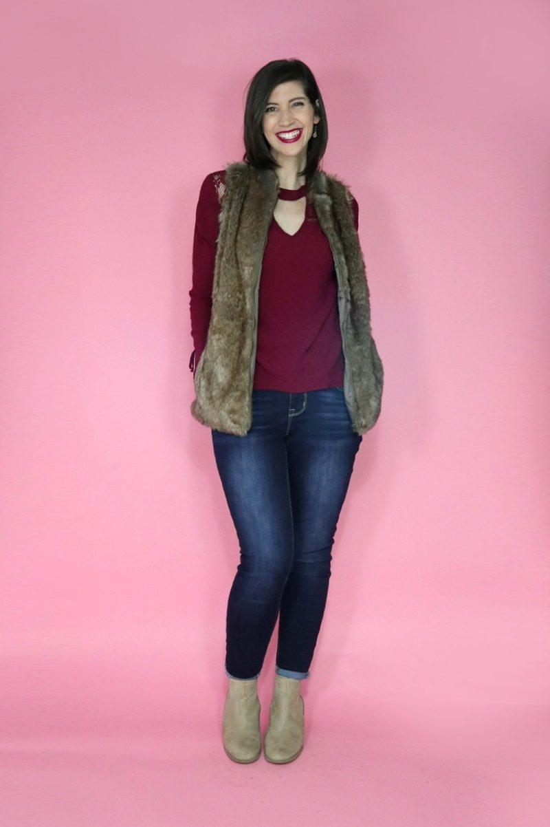 3 Faux Fur Vest Outfit Ideas hannah rupp winter maurices
