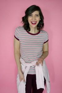 February Thrift haul striped t-shirt