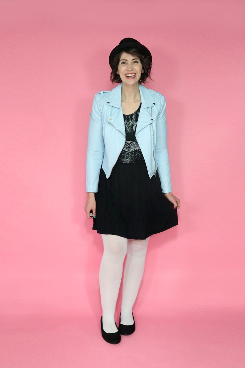 best thrifted clothes baby blue moto jacket poshmark black cat dress