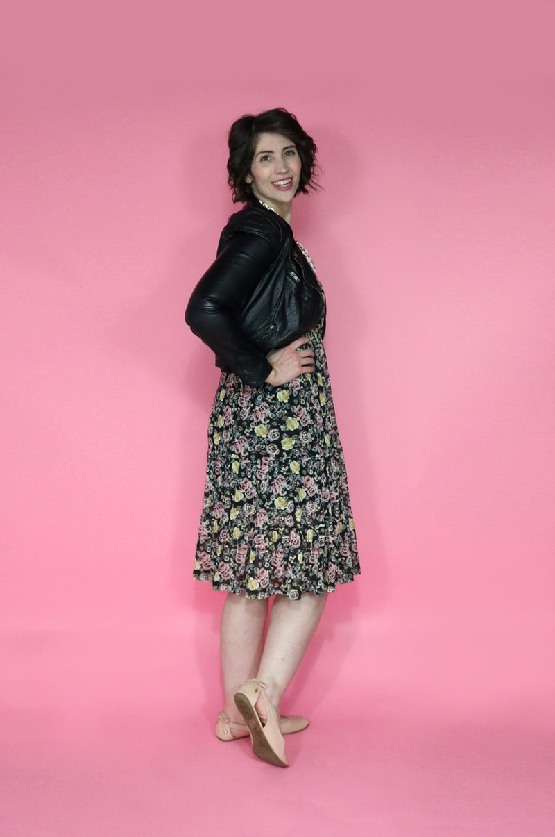 best thrifted clothes black floral dress moto jacket nude flats with bows