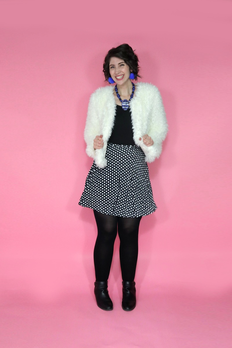 best thrifted clothes black and white fluffy coat for winter outfit