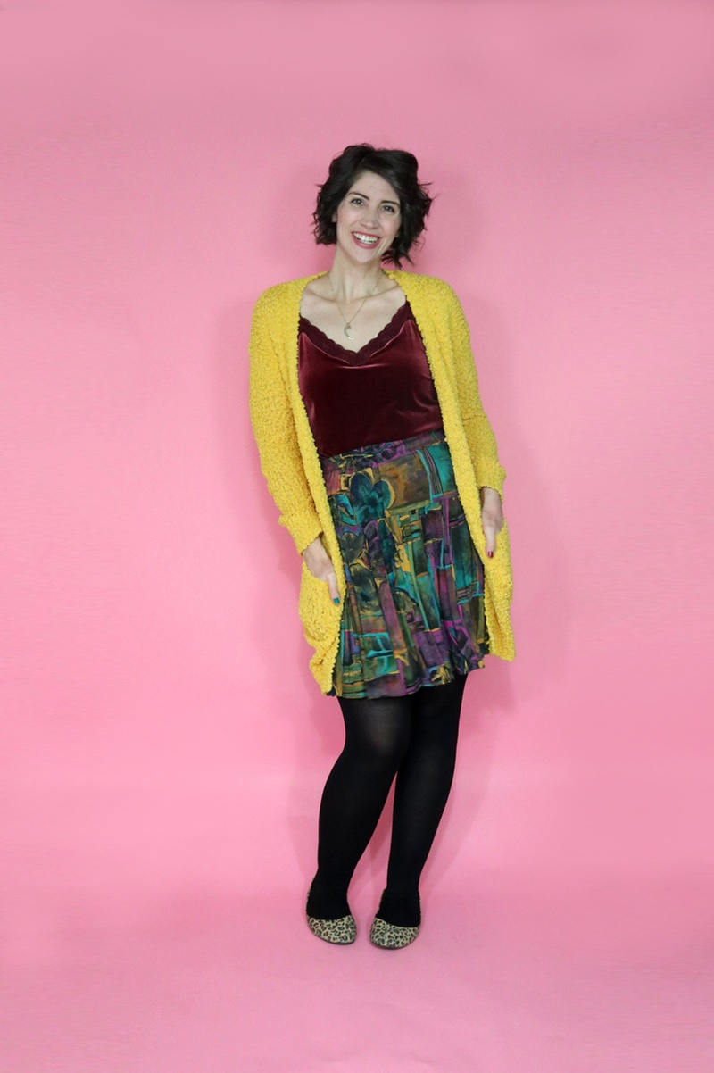 best thrifted clothes bright yellow cardigan swap.com colorful skirt black tights outfit