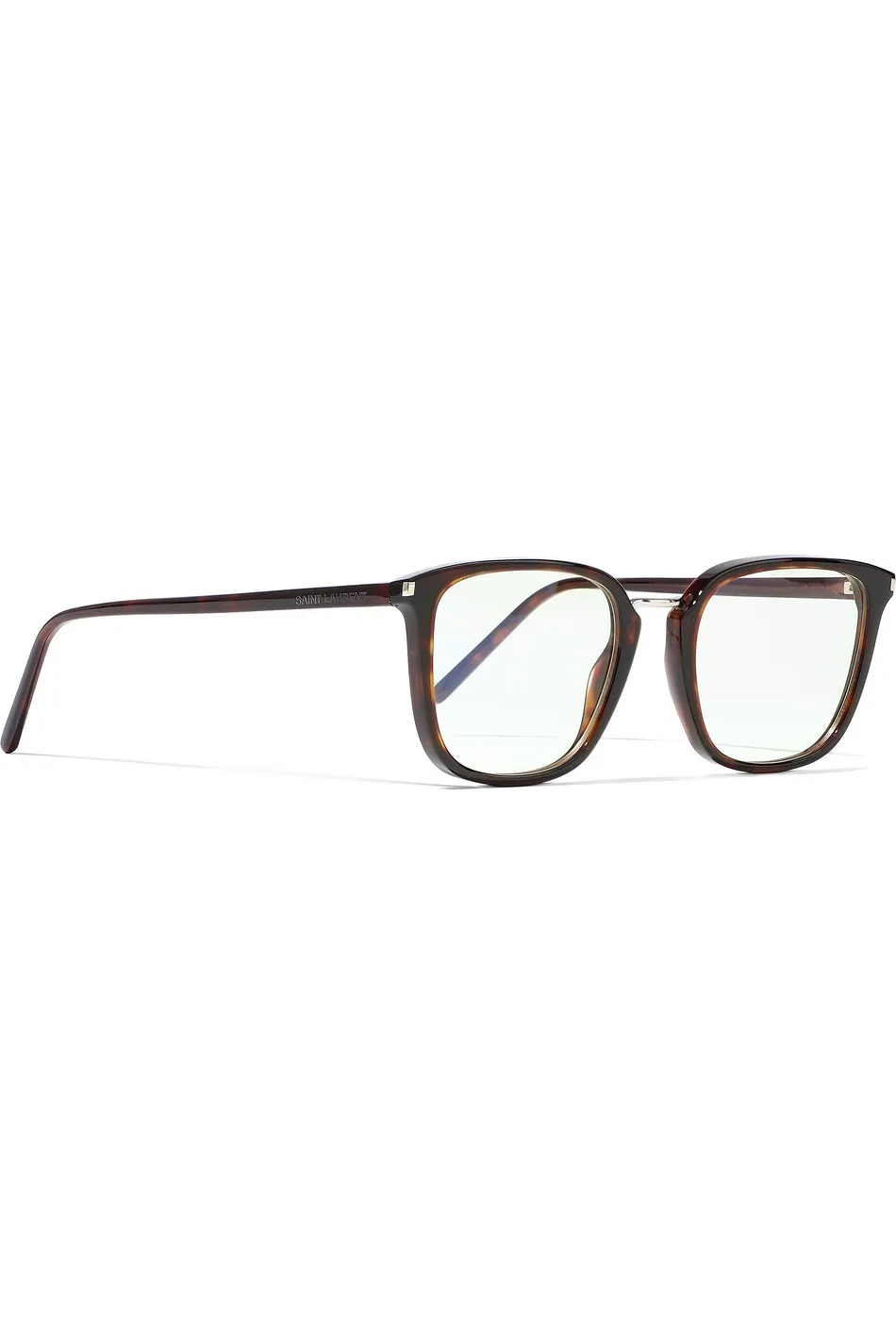 SAINT LAURENT SQUARE FRAME TORTOISESHELL ACETATE OPTICAL GLASSES