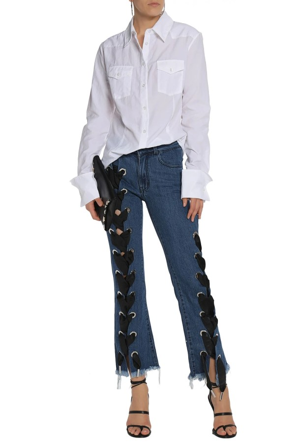 MARQUES' ALMEIDA Lace-up frayed mid-rise flared jeans