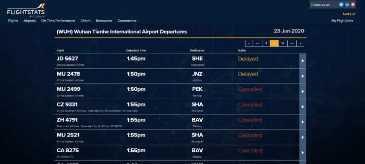 23rd Jan MIDDAY CANCELLED DEPARTURES