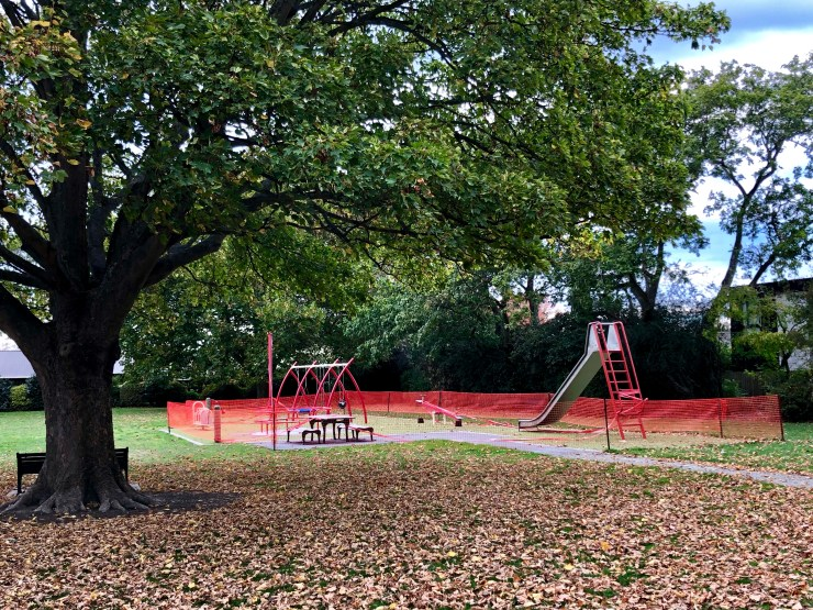 Play Equipment fenced off at my local park - Christchurch, New Zealand