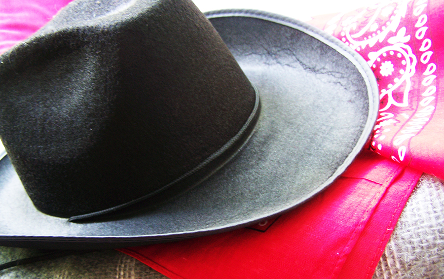 Black Cowboy Hat with Red Bandana