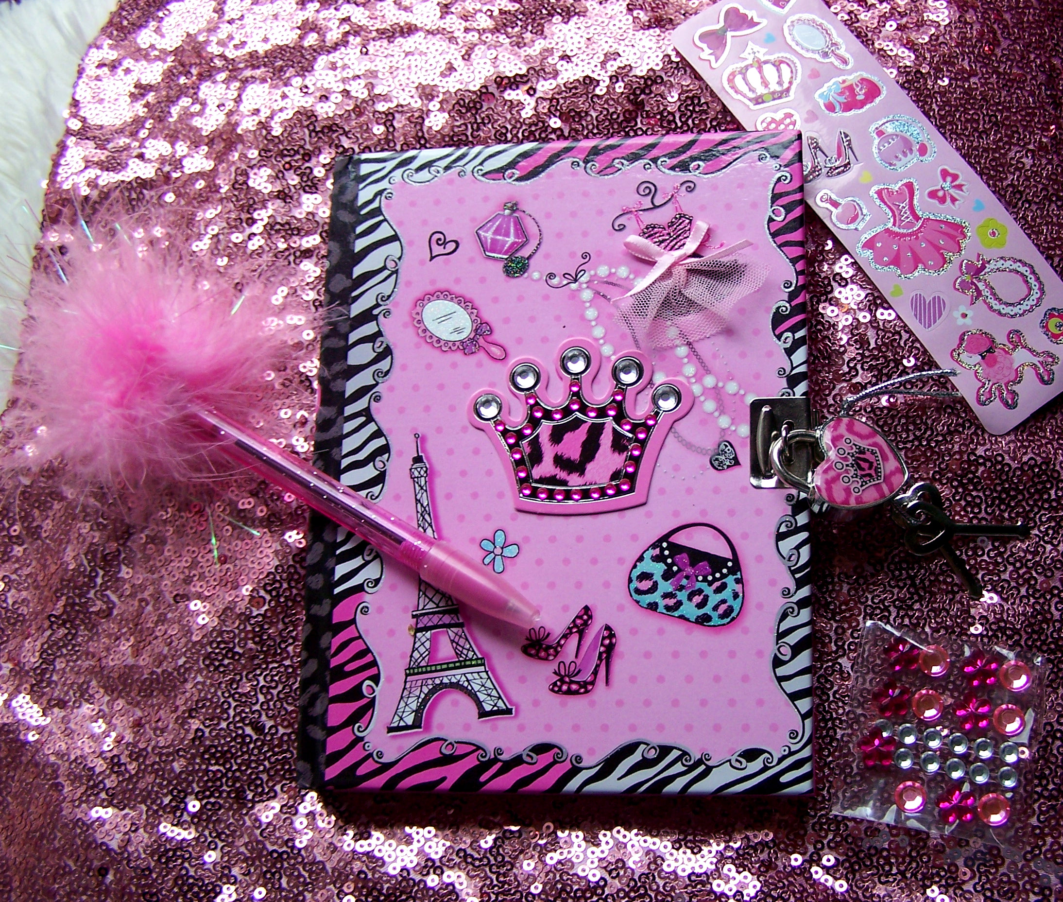 girls locking diary stickers jewel metal foil kids gifts Easter basket Christmas birthdays gifts presents shopping cute sweet France French Paris tower pen lock heart purse crown toy sweet adorable pink zebra feathered pen