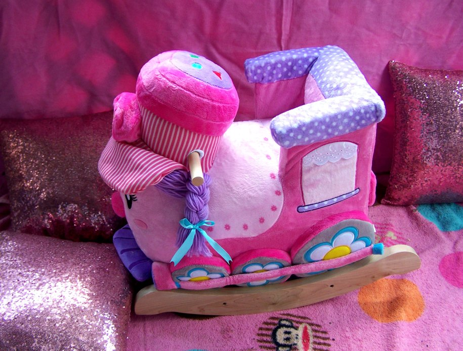 Jane the Train RockABye plush rocker toy pink purple girls babies toddlers rocking moms parents gift birthday plush soft adorable cute musical abc numbers colors educational toy