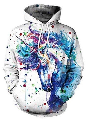 unicorn sweatshirt warm soft hoodie hoody watercolor painting magical pretty beautiful