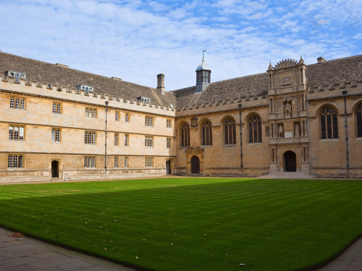 A picture of the front quad of Wadham College