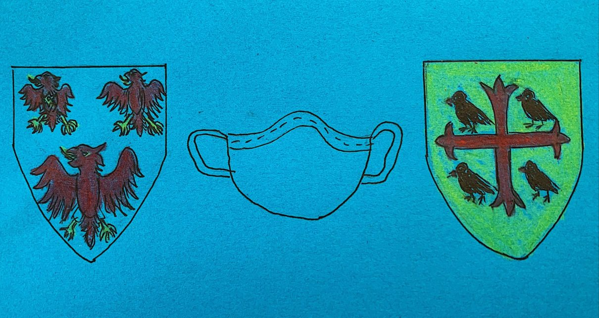 An illustration of the logos of The Queen's College and St Edmund Hall, alongside a face covering