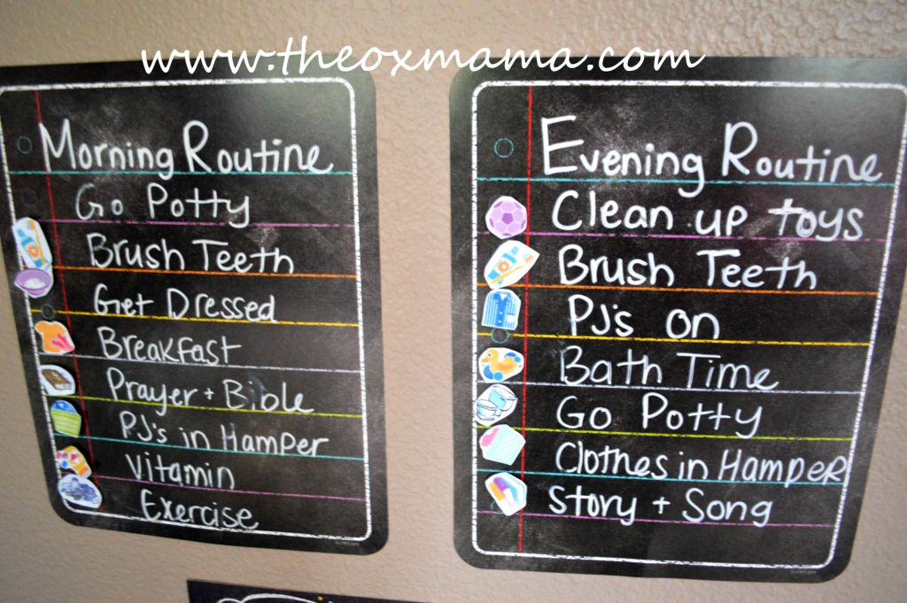 Our Weekly Tot School Schedule: Evening and Morning Routine Chore Chart for toddlers to help keep them focused and learn the basics of chores | theoxmama.com
